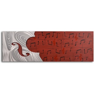 Handcrafted 'Cello Form on Red Score' Metal on Hand Painted Canvas Wall Decor