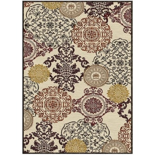Grand Bazaar Diamond Granada Medallion Cream Rug (7'6 x 10'6)
