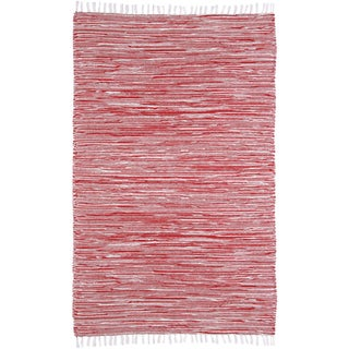 Red Reversible Chenille Flat Weave Rug (5' x 8')