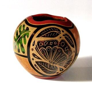 'Butterflies' Handmade Ceramic Vase (Nicaragua)