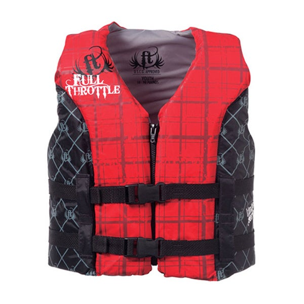 Full Throttle Black/ Red Youth Hinged Water Sports Vest