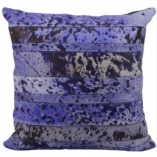 Mina Victory Natural Leather Hide Acid Wash 20 x 20-inch Purple Pillow by Nourison