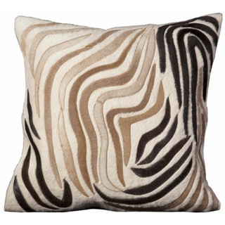 Mina Victory Cowhide Abstract Ivory 20 x 20-inch Decorative Pillow by Nourison