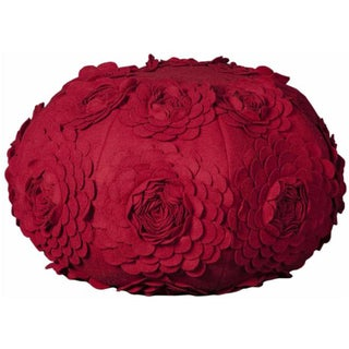 Mina Victory Poufs Floral Red 19 x 19-inch Round Decorative Pillow by Nourison