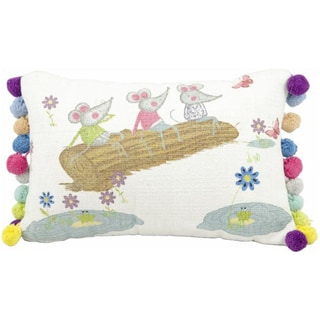 Mina Victory New Generation Mice White 14x20-inch Decorative Pillow by Nourison