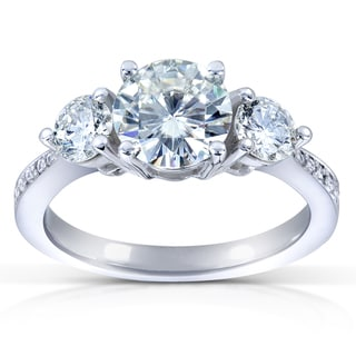 14k Gold 6.5 mm Round-cut Moissanite and 3/5 ct TDW Diamond Three Stone Engagement Ring (G-H, I1-I2)