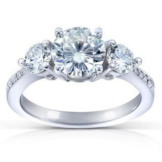 Annello 14k Gold 6.5 mm Round-cut Moissanite and 3/5 ct TDW Diamond Three Stone Engagement Ring (G-H, I1-I2)