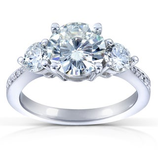 Annello 14k Gold 7.5 mm Round-cut Moissanite and 3/5 ct TDW Diamond Three Stone Engagement Ring (G-H, I1-I2)