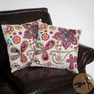Christopher Knight Home Ivory Paisley 18-inch Floral Pillows (Set of 2)