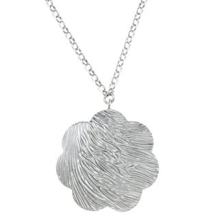ELLE Jewelry Sterling Silver Textured Flower Necklace