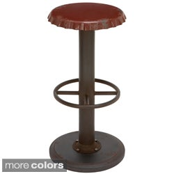 Retro Antiqued Bottle Cap Bar Stool