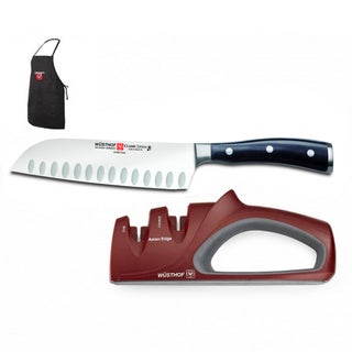 Wusthof Classic Ikon Santoku 7-inch Knife and Asian Sharpener Set plus Bonus Apron