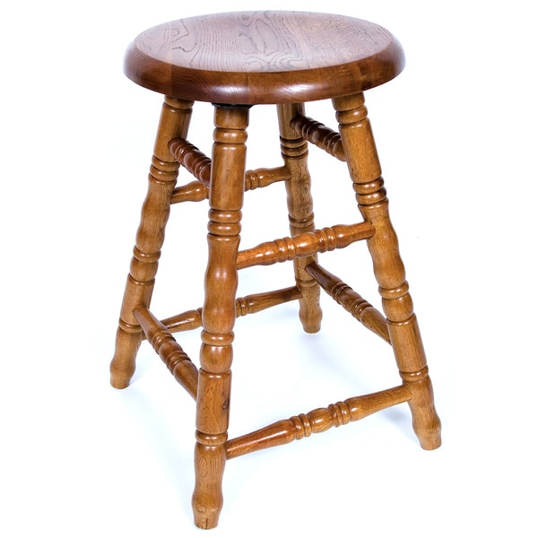 Solid Medium Oak 24-inch Backless Saddle Swivel Barstool
