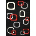 Oasis Floating Blocks Black Frieze Rug (5' x 7'3)