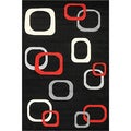 Oasis Floating Blocks Black Frieze Rug (7'10 x 9'10)