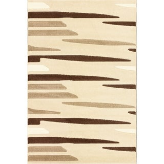 Oasis Striations Beige/ Brown Frieze Rug (7'10 x 9'10)