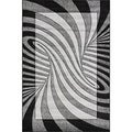 Oasis Waves Black/ Grey Frieze Rug (5' x 7'3)