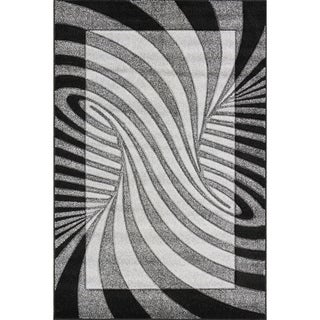 Oasis Waves Black/ Grey Frieze Rug (7'10 x 9'10)