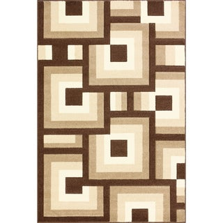 Oasis Blocks Brown/ Beige Frieze Rug (7'10 x 9'10)
