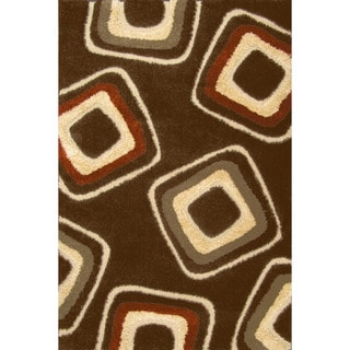 Miracle Nucleus Brown/ Terracotta Area Rug (7'10 x 9'10)