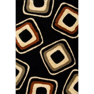 Miracle Nucleus Black/ Beige Area Rug (7'10 x 9'10)