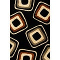 Miracle Nucleus Black/ Terracotta Area Rug (5' x 7'3)