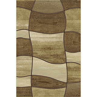 Providence Wavy Blocks Gold/ Cocoa Area Rug (7'10 x 9'10)