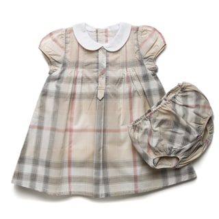 Burberry Girl&#39;s New Nova Check Pintuck Dress and Bloomer Set