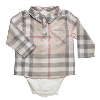 Burberry Infant Boy's New Nova Check Shirt Onsie
