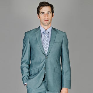Bertolini Men's Slim Fit Blue Gray Sharkskin Wool and Silk Blend Suit