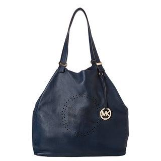 MICHAEL Michael Kors XL Navy Leather Perforated Logo Grab Bag