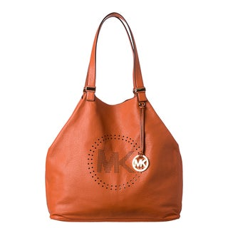 MICHAEL Michael Kors XL Tangerine Leather Perforated Logo Grab Bag