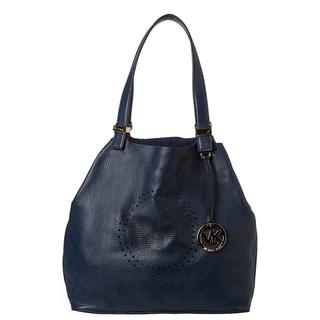MICHAEL Michael Kors Large Navy Leather Perforated Logo Grab Bag