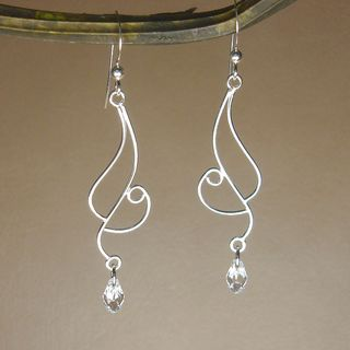Long Curved Moonlight Crystal Sterling Silver Earrings