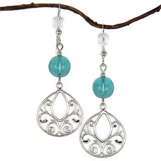 Jewelry by Dawn Aqua Glass Fancy Filigree Teardrop Sterling Silver Earrings