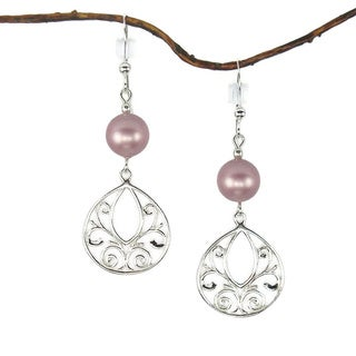 Jewelry by Dawn Rose Pearl Fancy Filigree Teardrop Sterling Silver Earrings