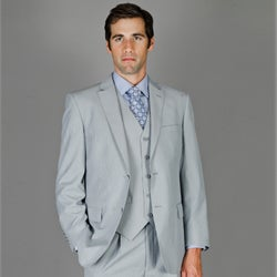 Bertolini Men's Grey Ministripe Wool and Silk Vested Suit