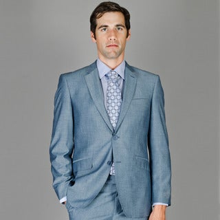 Men's Slim Fit Sharkskin 2-Button Wool/ Silk Blend Suit