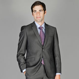 Bertolini Men's Slim Fit Charcoal Stripe Wool and Silk Blend Suit