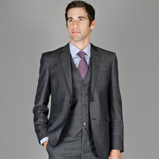 Men's Slim Fit Teakweave Windowpane Wool and Silk Blend Vested Suit