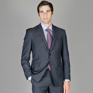 Men's Slim Fit Black Blue Stripe Wool and Silk Blend Suit