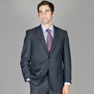 Bertolini Men's Black Blue Striped Wool and Silk Blend Suit