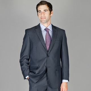 Men's Black Blue Striped Wool and Silk Blend Suit