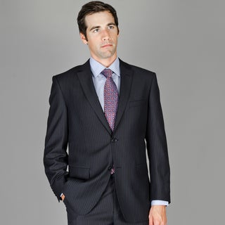 Bertolini Men's Black Stripe Wool and Silk Blend Suit