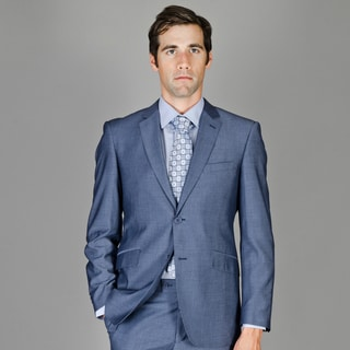Men's Dark Blue Sharkskin 2-button Wool and Silk Blend Slim-Fit Suit