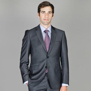 Men's Slim Fit Black Stripe Wool and Silk Blend Suit