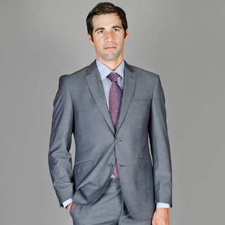 Bertolini Men's Slim Fit Grey Stripe Wool and Silk Blend Suit
