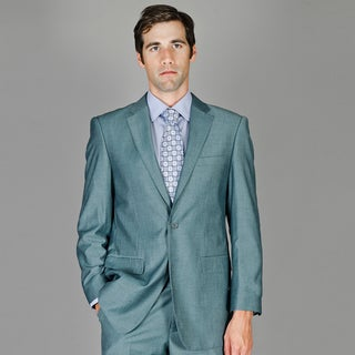 Men's Blue Gray Sharkskin Wool and Silk Blend Suit