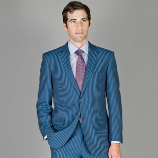 Bertolini Men's Blue Stripe Wool and Silk Blend Suit