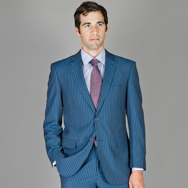 Men's Blue Stripe Wool and Silk Blend Suit